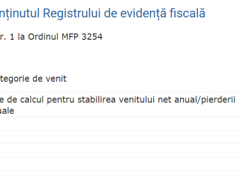 PFA – Registrul de evidenta fiscala