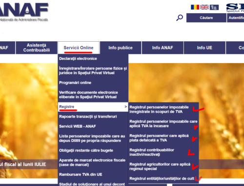 ANAF – registre utile